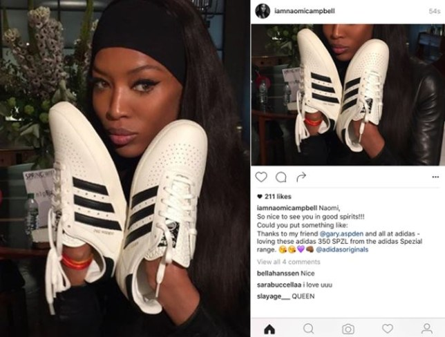 Naomi Campbell slips up in sponsored Instagram post for new adidas