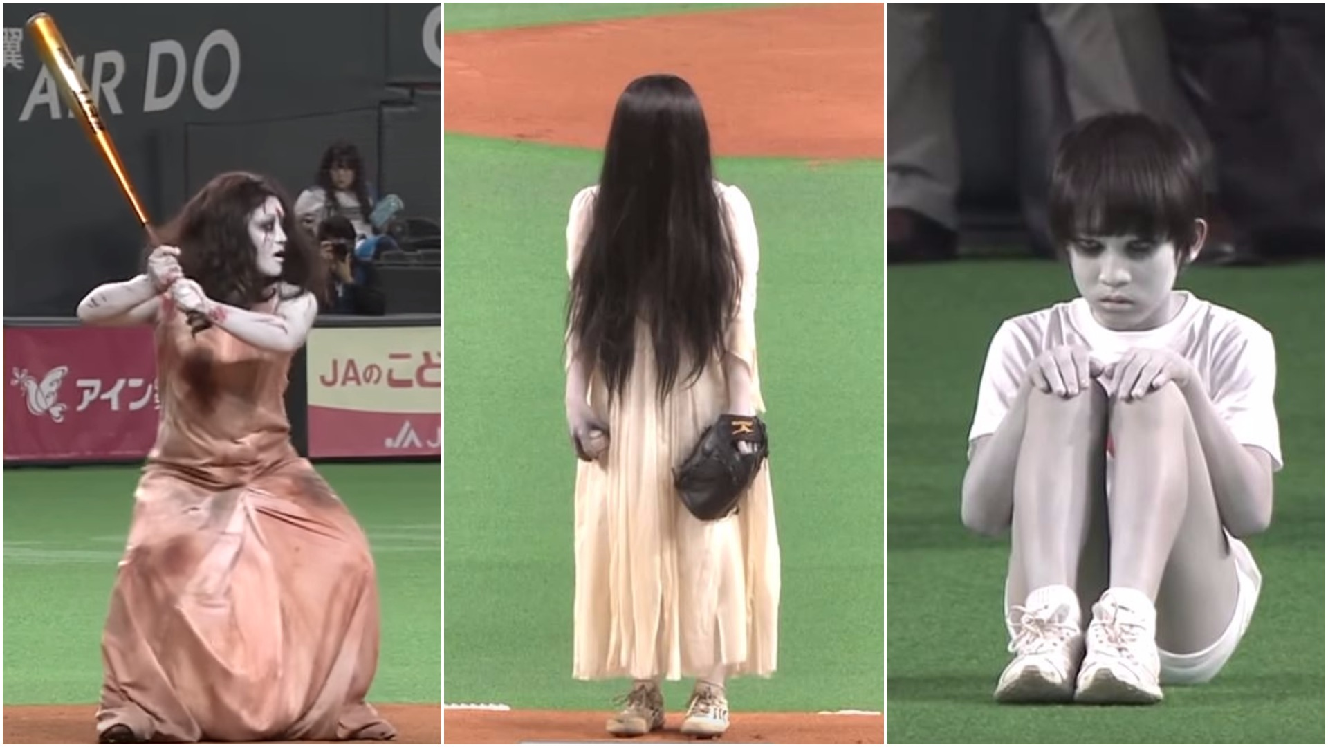 WATCH: Weirdest promo stunt ever sees The Grudge and The Ring facing off in baseball match