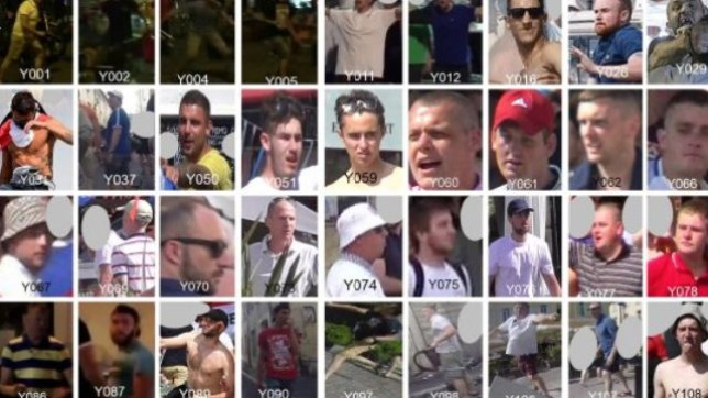 "Undated handout composite photos issued by the National Police Chiefs' Council of 72 England football fans suspected of being involved in violence in Marseille, France, ahead of England's Euro 2016 game against Russia. PRESS ASSOCIATION Photo. Issue date: Thursday June 23, 2016. A group of 150 ""hyper rapid, hyper violent"" Russian hooligans attacked Three Lions supporters in the French port city, throwing chairs and beer bottles in violent scenes the National Police Chiefs' Council (NPCC) said were ""on a scale we haven't seen for many years"". See PA story SPORT Euro2016. Photo credit should read: National Police Chiefs' Council/PA Wire NOTE TO EDITORS: This handout photo may only be used in for editorial reporting purposes for the contemporaneous illustration of events, things or the people in the image or facts mentioned in the caption. Reuse of the picture may require further permission from the copyright holder."