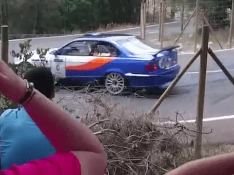 Two critical after rally car spins off road and hits spectators