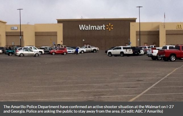 The Amarillo Police Department have confirmed an active shooter situation at the Walmart on I-27 and Georgia. Police are asking the public to stay away from the area. (Credit: ABC 7 Amarillo)