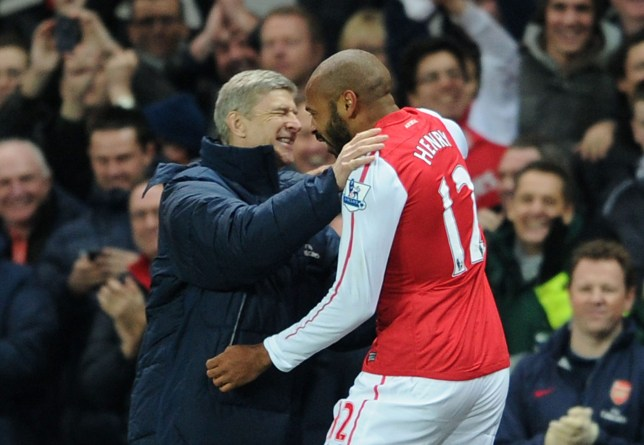 LONDON, ENGLAND - JANUARY 09: Thierry Henry celebrates scoring Arsenal's goal with Arsene Wenger the Manager of Arsenal during the FA Cup Third Round match between Arsenal and Leeds United at Emirates Stadium on January 9, 2012 in London, England. (Photo by David Price/Arsenal FC via Getty Images)