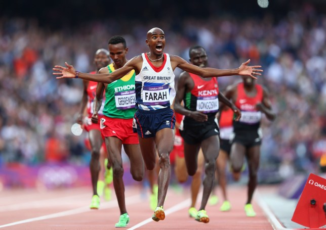 Mohamed Farah celebrates as he crosses the finish line to win gold at London 2012 (Picture: Getty Images)