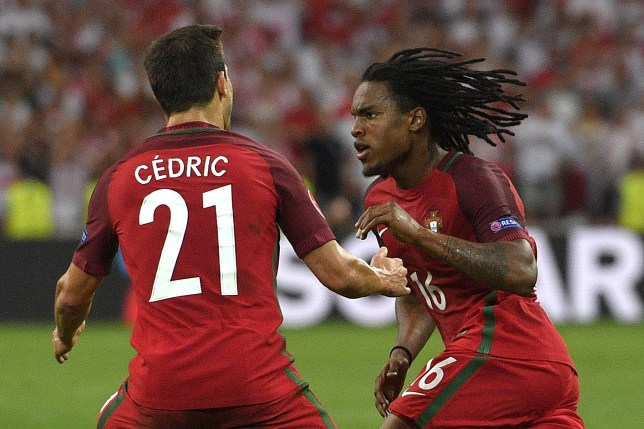 Portugal's midfielder Renato Sanches (R) celebrates with Portugal's defender Cedric Soares after scoring during the Euro 2016 quarter-final football match between Poland and Portugal at the Stade Velodrome in Marseille on June 30, 2016. / AFP / Francisco LEONG (Photo credit should read FRANCISCO LEONG/AFP/Getty Images)