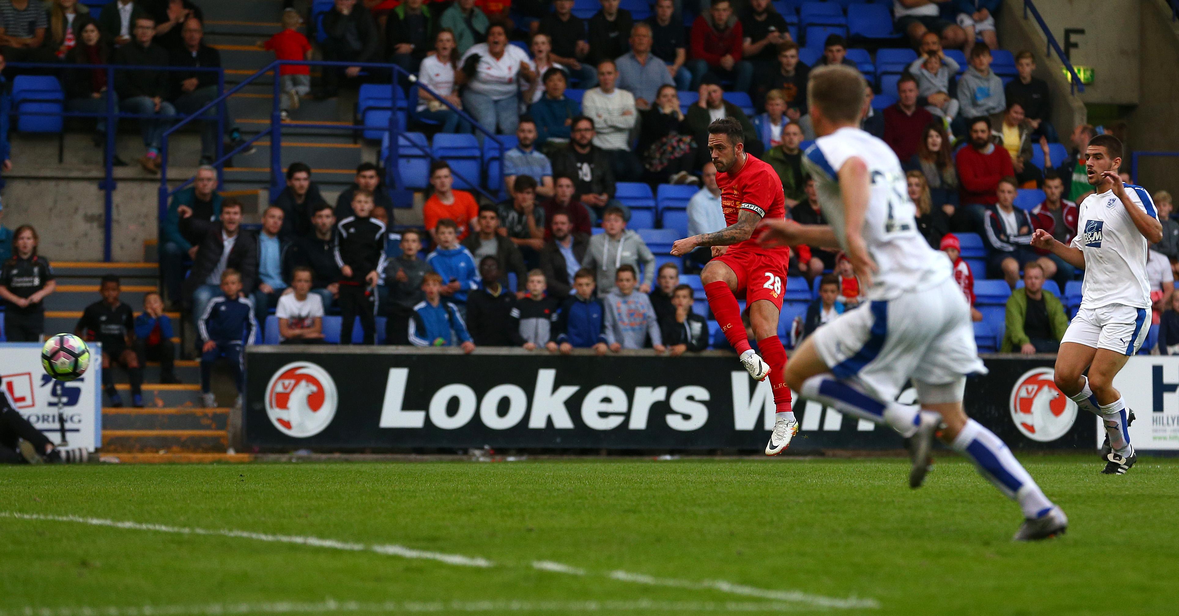 Liverpool's Danny Ings celebrates scoring on return vs Tranmere