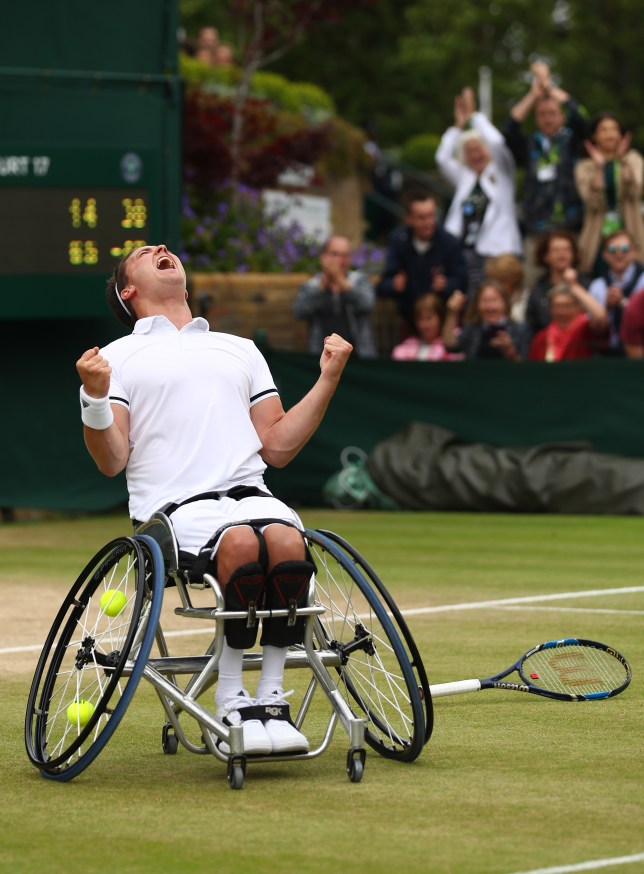 LONDON, ENGLAND - JULY 10: Gordon Reid of Great Britain celebrates victory during the Men's Wheelchair singles final against Stefan Olsson of Sweden on day thirteen of the Wimbledon Lawn Tennis Championships at the All England Lawn Tennis and Croquet Club on July 10, 2016 in London, England. (Photo by Julian Finney/Getty Images)