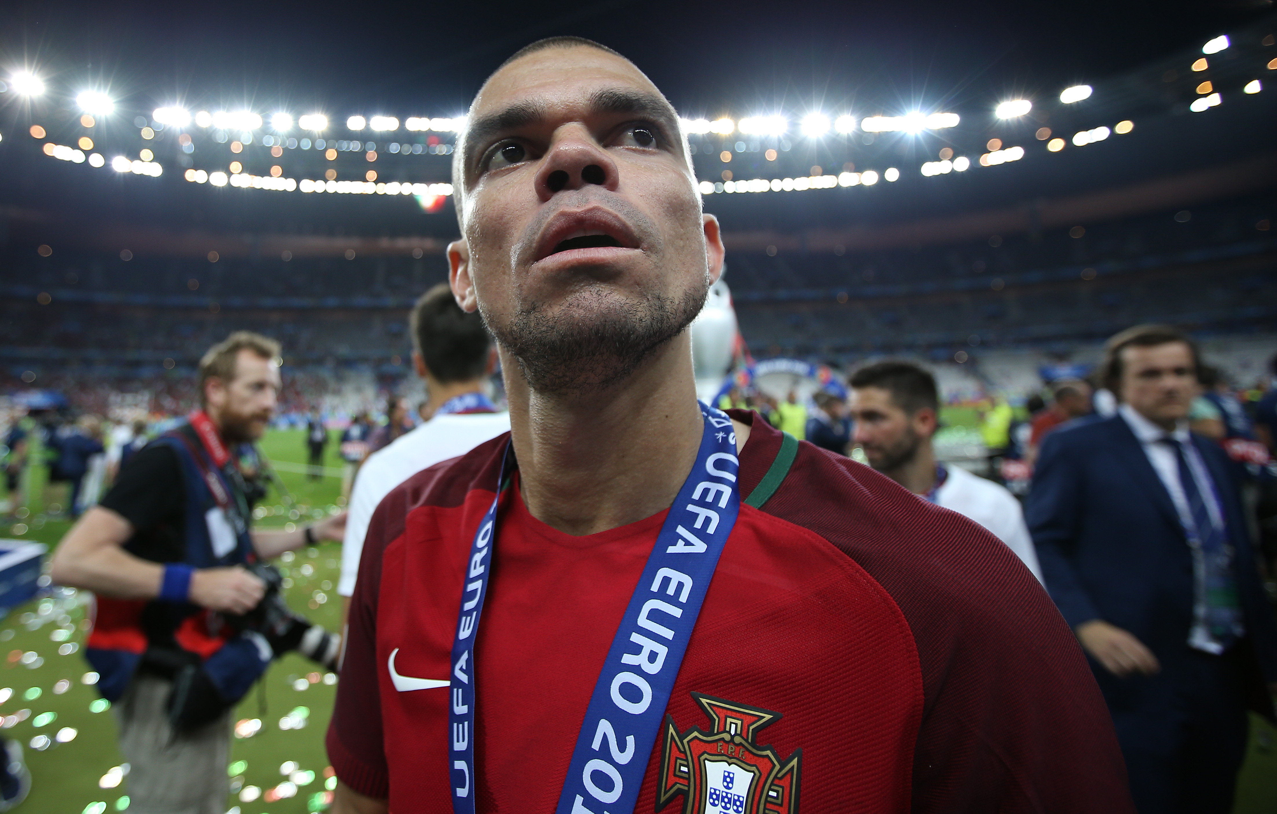 Pepe sick on pitch during Euro 2016 celebrations with Portugal