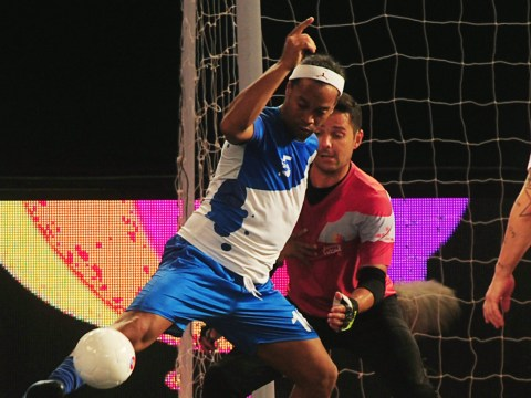 Ronaldinho scores FIVE outrageous goals to upstage Manchester United legend Paul Scholes in Indian Futsal League