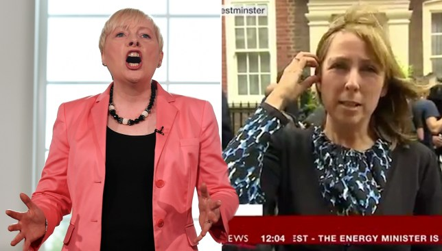 Ouch. Moment BBC cut away from Angela Eagle mid speech in fvour of Andrea Leadsom's front door Credit: EPA/BBC