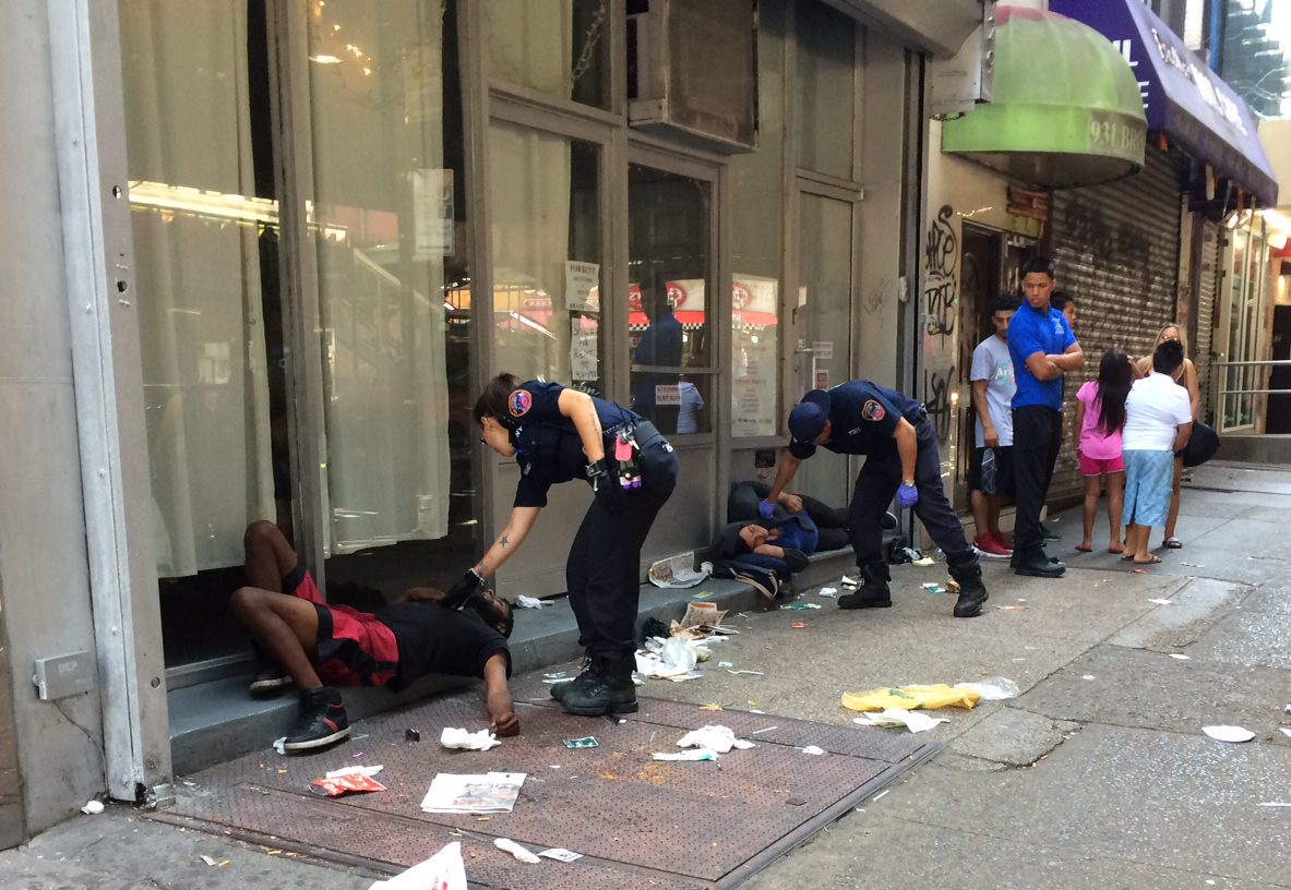 THIRTY-THREE people collapse on the same New York street at 9AM after taking a bad batch of synthetic marijuana 'K2