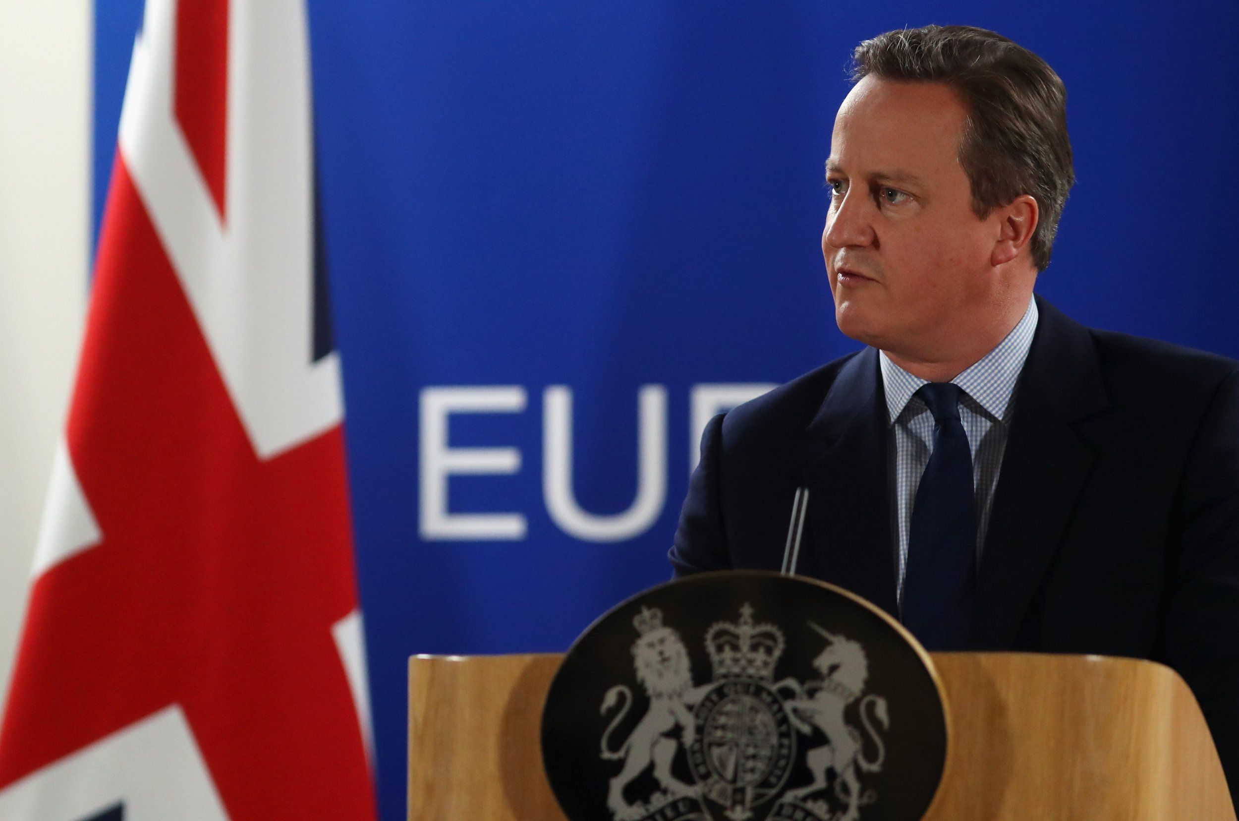 BRUSSELS, BELGIUM - JUNE 28: British Prime Minister David Cameron delivers his final press briefing before leaving his last European Council Meeting at the Council of the European Union on June 28, 2016 in Brussels, Belgium. British Prime Minister David Cameron will hold talks with other EU leaders in what will likely be his final scheduled meeting with the full European Council before he stands down as Prime Minister. The meetings come at a time of economic and political uncertainty following the referendum result last week which saw the UK vote to leave the European Union. (Photo by Dan Kitwood/Getty Images)