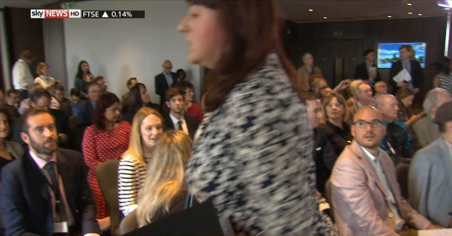 ****Ruckas Videograbs**** (01322) 861777 *IMPORTANT* Please credit Sky News for this picture. 30/06/16 Grabs from footage of the moment when Jewish Labour MP Ruth Smeeth sotrmed out of an antisemitism event in tears after being accused of colluding with the media. Smeeth was left shocked when a member of an activist group that supports Jeremy Corbyn accused her of colluding with the right-wing press at the launch of Corbyn's antisemitism report this morning, so uch so that she left her chair and stormed out the event and was reportedly left in tears. Office (UK) : 01322 861777 Mobile (UK) : 07742 164 106 **IMPORTANT - PLEASE READ** The video grabs supplied by Ruckas Pictures always remain the copyright of the programme makers, we provide a service to purely capture and supply the images to the client, securing the copyright of the images will always remain the responsibility of the publisher at all times. Standard terms, conditions & minimum fees apply to our videograbs unless varied by agreement prior to publication.