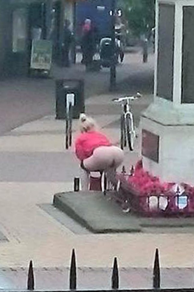 credit EAST NEWS PRESS AGENCY Date: July 1 2016nLocation: Grays, Essex, England.nShoppers in a busy town centre were shocked to witness a woman using a war memorial as a toilet. Police in Grays, Essex are investigating pictures, which emerged on the 100th anniversary of the Battle of the Somme.nPictured: The disgusting incident.