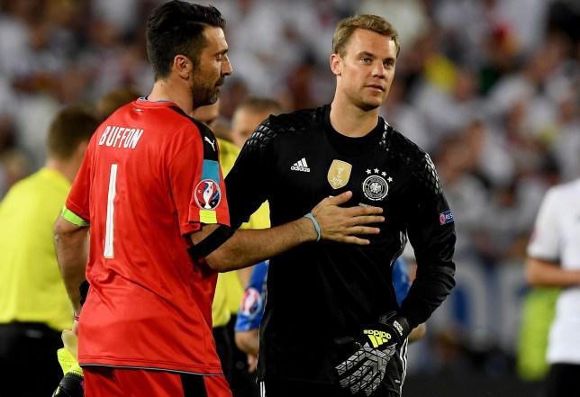 epa05404547 Goalkeeper Gianluigi Buffon of Italy (L) and goalkeeper Manuel Neuer of Germany react prior the penalty shoot out during the UEFA EURO 2016 quarter final match between Germany and Italy at Stade de Bordeaux in Bordeaux, France, 02 July 2016. (RESTRICTIONS APPLY: For editorial news reporting purposes only. Not used for commercial or marketing purposes without prior written approval of UEFA. Images must appear as still images and must not emulate match action video footage. Photographs published in online publications (whether via the Internet or otherwise) shall have an interval of at least 20 seconds between the posting.)  EPA/VASSIL DONEV   EDITORIAL USE ONLY