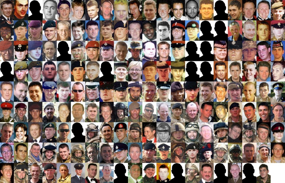 Composite image of the 179 troops that died during the conflict in Iraq. For full caption see PA Story POLITICS Chilcot Caption. PRESS ASSOCIATION Photo. Issue date: Tuesday July 5, 2016. Photo credit should read: PA Wire