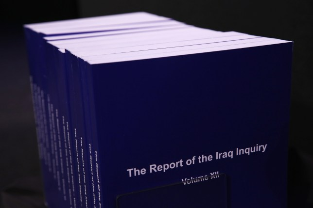 Volumes of the Iraq Inquiry Report due to be presented by Sir John Chilcot at the Queen Elizabeth II Centre in Westminster, London. PRESS ASSOCIATION Photo. Picture date: Wednesday July 6, 2016. he Iraq Inquiry Report into the UK government's involvement in the 2003 Iraq War under the leadership of Tony Blair is published today. The inquiry, which concluded in February 2011, was announced by then Prime Minister Gordon Brown in 2009 and is published more than seven years later. See PA story POLITICS Chilcot. Photo credit should read: Dan Kitwood/PA Wire