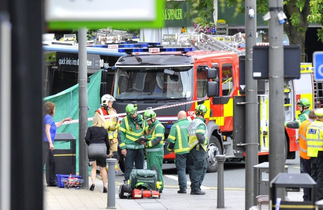 Dated: 07/07/2016 BUS CRASH DEATH SCENE ... Emergency services at the scene in Darlington, where one person has been killed after a bus ploughed into a branch of Halifax building society this morning (THURS) on Northgate. See story North News