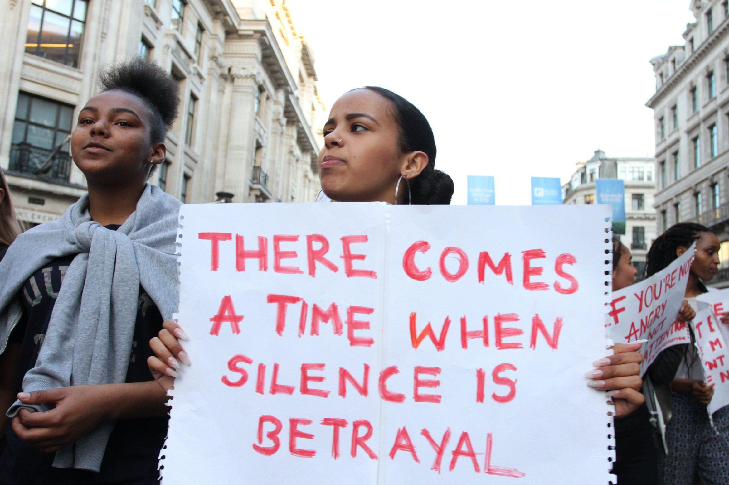 Mandatory Credit: Photo by Brayan Lopez/REX/Shutterstock (5753900j) Black Lives Matter protestors Black lives matter protest, London, UK - 08 Jul 2016