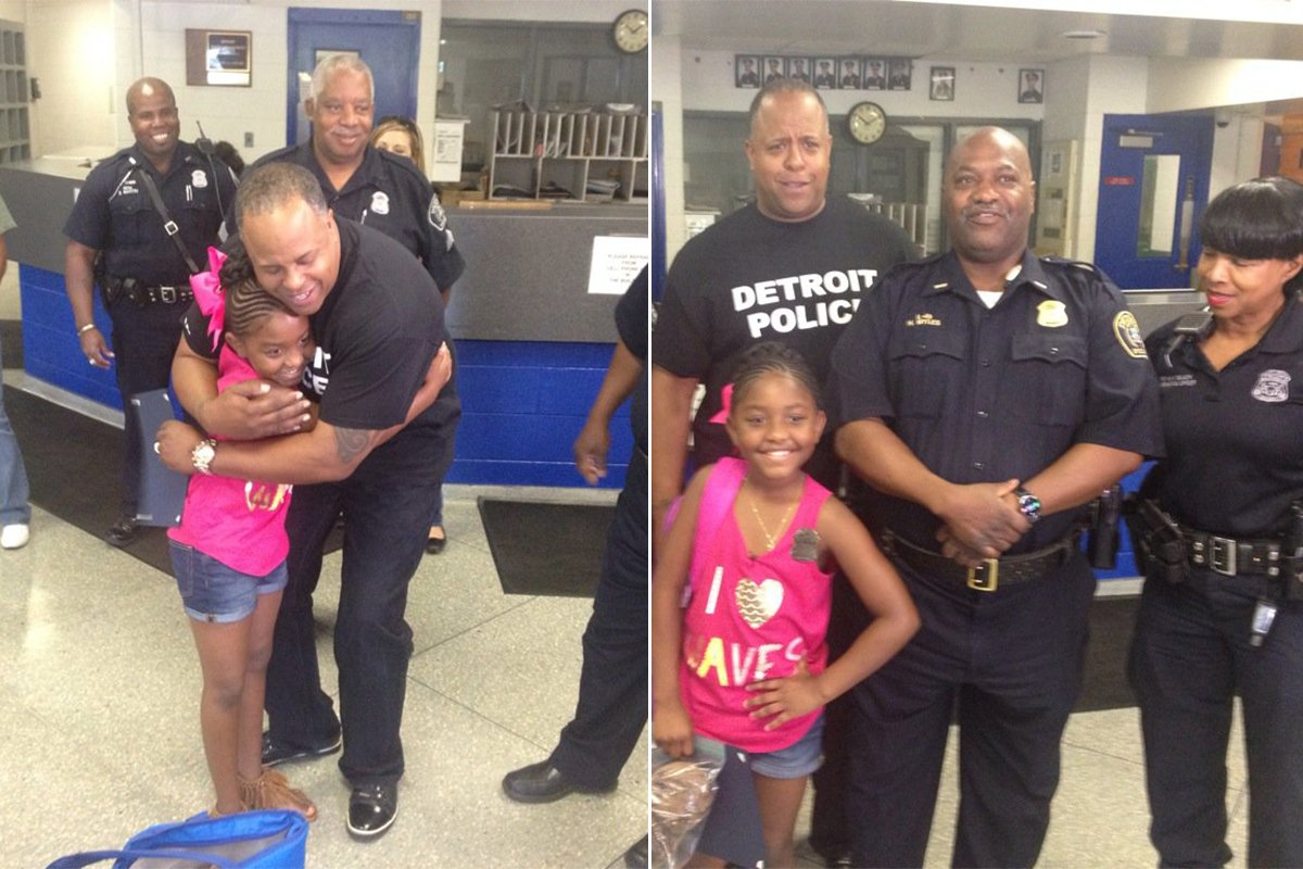 Girl, nine, uses birthday money to buy lunch for police officers after Dallas shooting