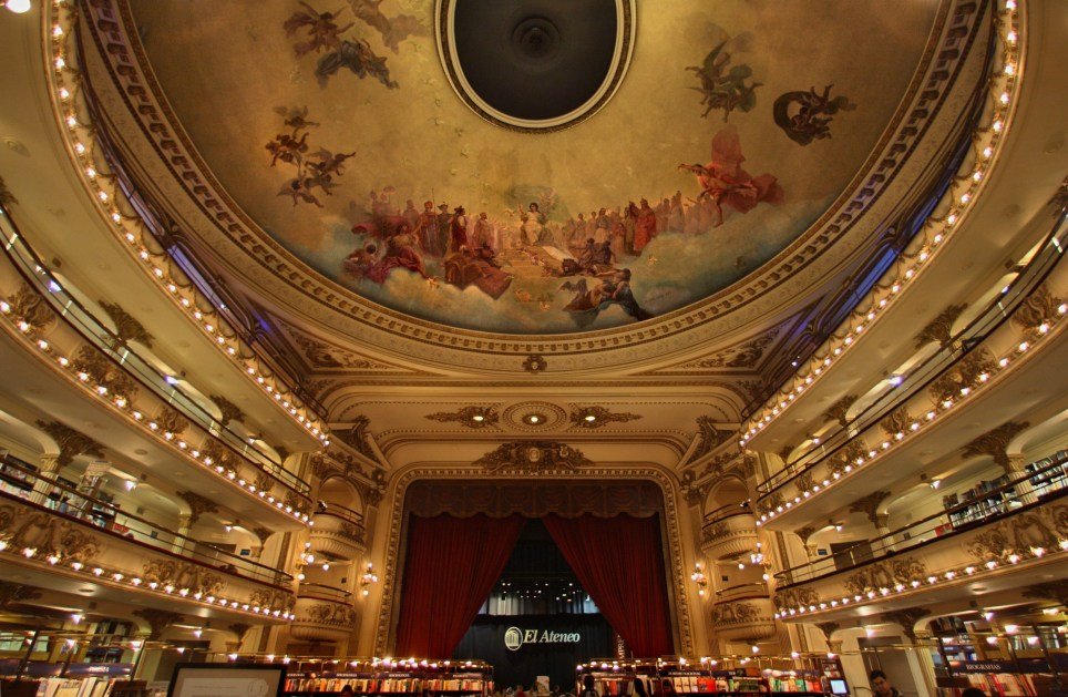 Picture taken on September 2007 showing El Ateneo bookstore, in the Barrio Norte neighborhood in Buenos Aires. El Ateneo presently occupies the building that belonged to the old Grand Splendid Cinema, built in 1919 by initiative of of Max Glucksman, an Austrian immigrant and designed by architects Per? and Torres Amengo. Its dome was painted by Italian artist Nazareno Orlandi. In 2000, the former movie theatre was reformed to host the most important bookstore in Latin America. AFP PHOTO / DANIEL GARCIA (Photo credit should read DANIEL GARCIA/AFP/Getty Images)