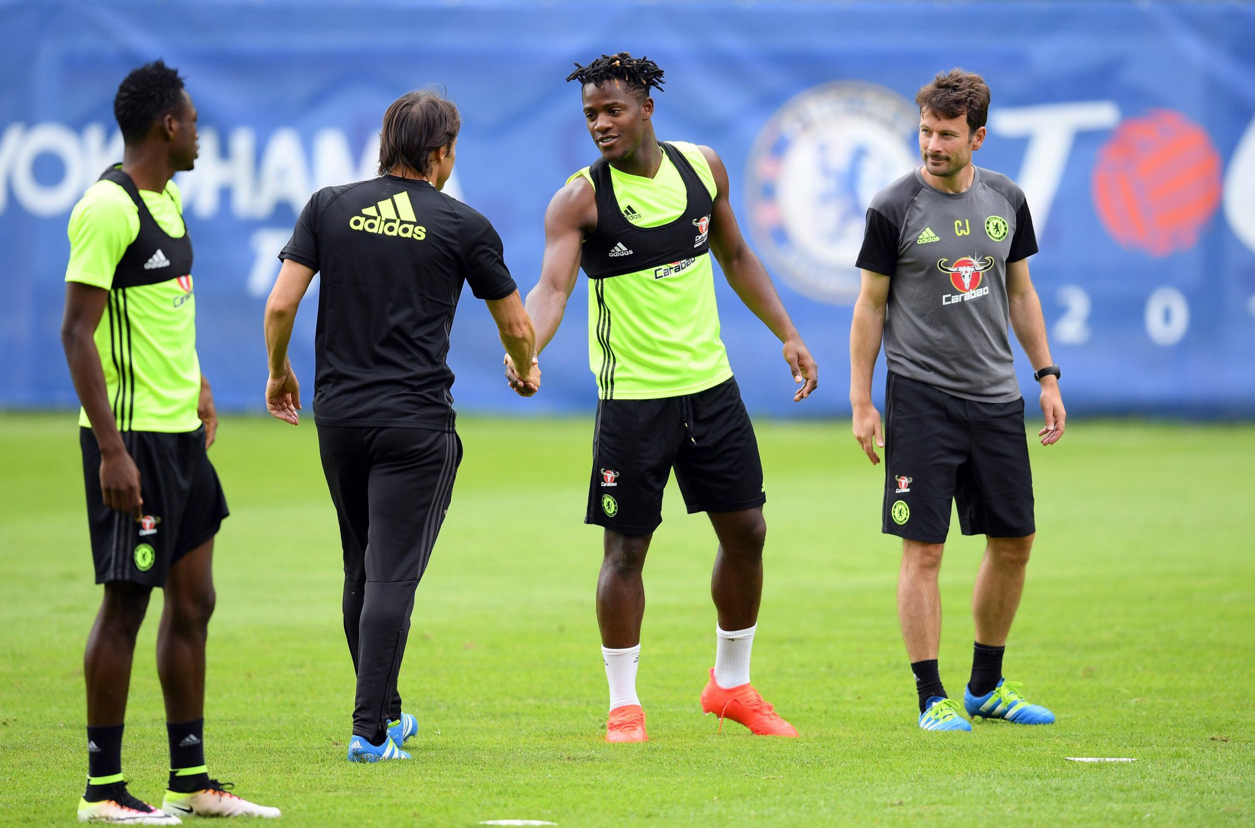 VELDEN, AUSTRIA - JULY 18: Michy Batshuayi, Antonio Conte during a Chelsea training session at Waldarena on July 18, 2016 in Velden, Austria. (Photo by Darren Walsh/Chelsea FC via Getty Images)
