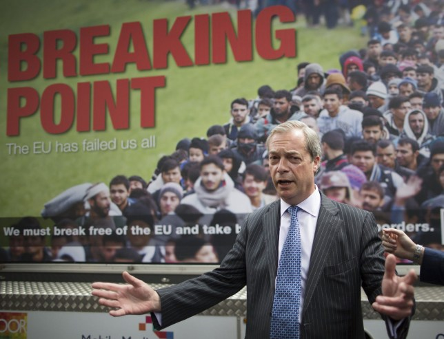Farage reported to police over 'racist' EU poster Mandatory Credit: Photo by Peter MacDiarmid/REX/Shutterstock (5733824h)nUKIP Leader Nigel Farage stands in front of a new EU Referendum poster featuring a picture of migrants queueing at a border crossingnUKIP Leader Nigel Farage launches UKIP's new EU Referendum poster campaign, London, UK - 16 Jun 2016nn