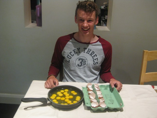 A lucky student was shocked to find all dozen eggs in a box were double yolks - against odds of one in a sextillion. See National News story NNYOLK; Tom Tosetti, 17, couldn't believe his eyes when first seven eggs in the box were all doubles, and started filming - only to find the remaining five were the same. The physics and maths student at Esher College eats about a dozen eggs a week, and said it was very surprising.