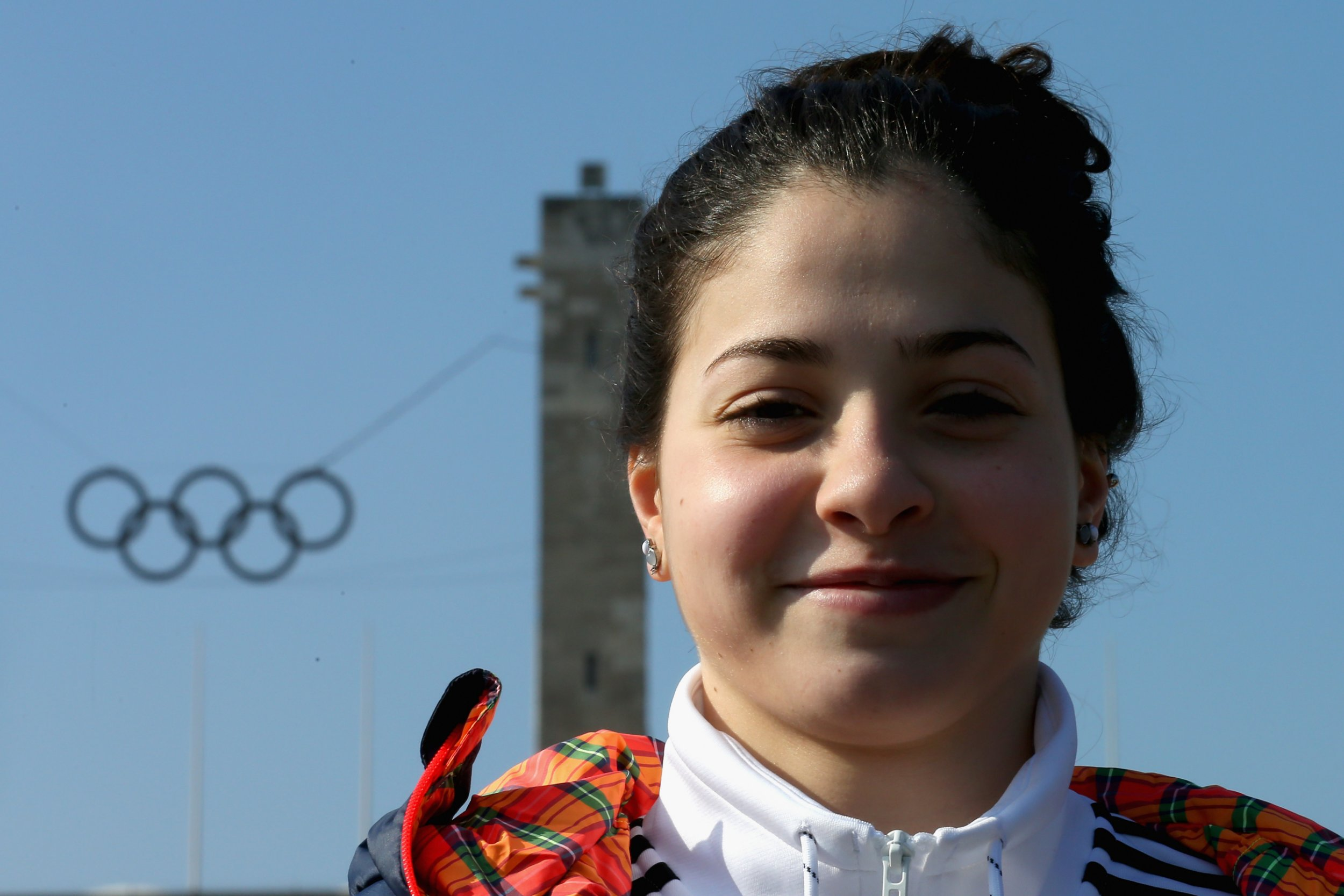 BERLIN, GERMANY - MARCH 09: Yusra Mardini of Syria visit the Olympiastadium Olympiapark Berlin on March 9, 2016 in Berlin, Germany. (Photo by Alexander Hassenstein/Getty Images for IOC)