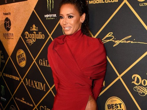 Mel B looks sensational in dress with ridiculously high split on the red carpet