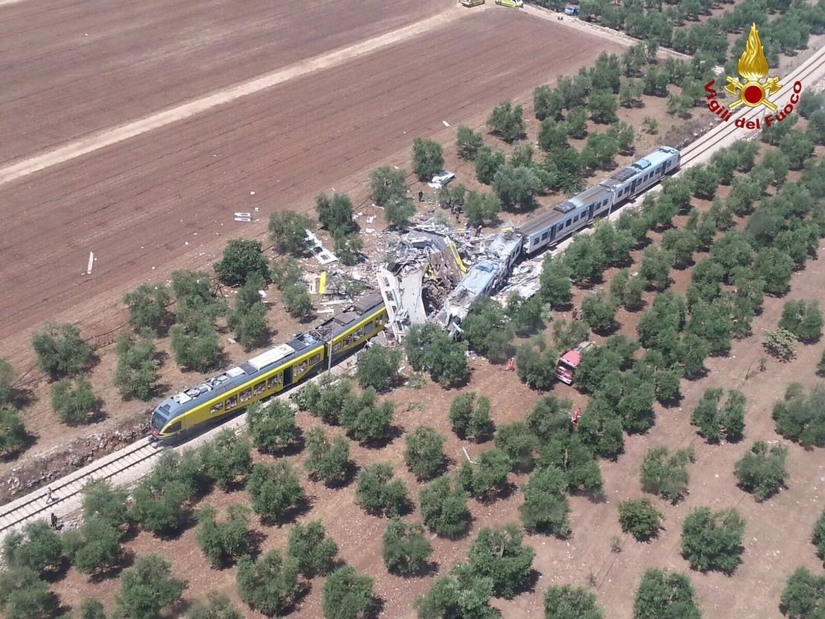 10 killed in head-on collision between two trains in Puglia, Italy (pic by Vigili del Fuoco)