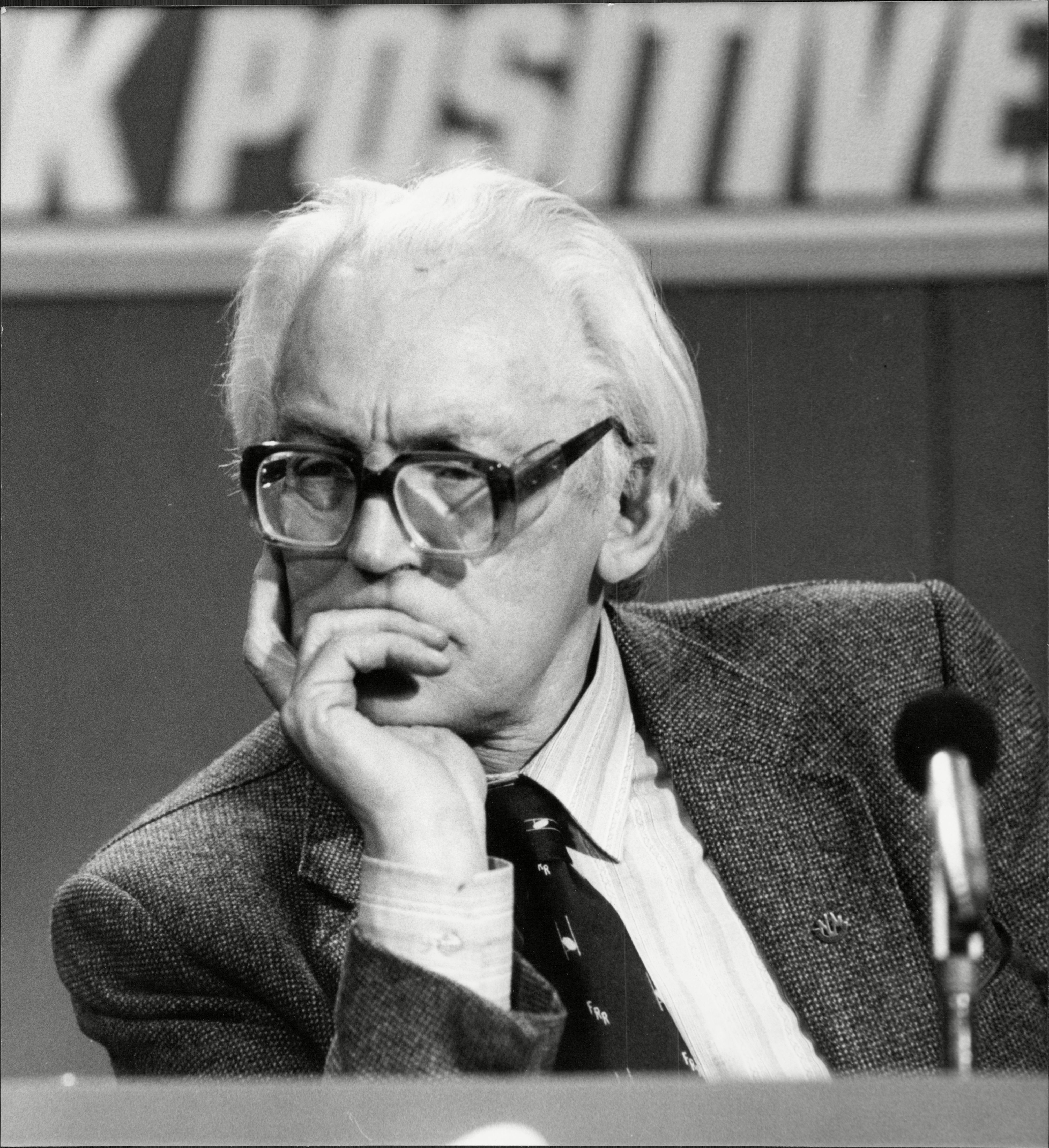 Michael Foot Politician at the Labour Party conference at Smiths Square . REXSCANPIX.