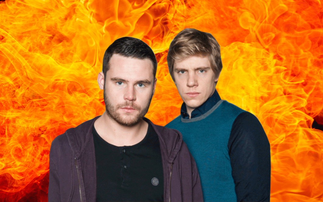Robert and Aaron to be involved in Emmerdale stunt Could I have a picture of Robert Sugden (Ryan Hawley) and Aaron Dingle (Danny Miller) with an explosion/flames behind them. Here's an image of them you can use but feel free to look for others if you think they will work better