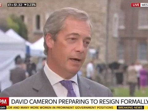 Nigel Farage heckled by protester with megaphone in live TV interview