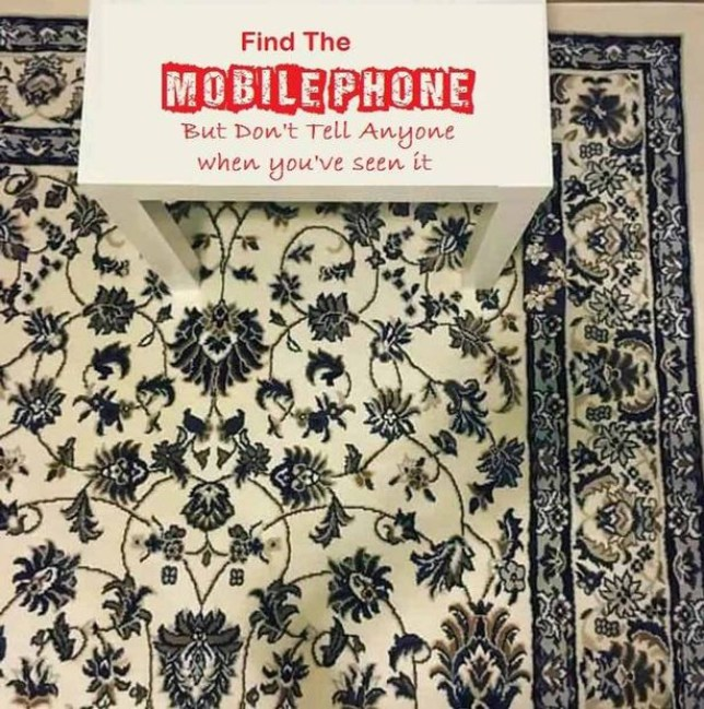 People can't find the mobile phone on this rug and it's driving them crazy