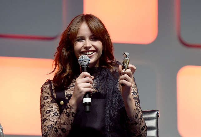 Life in plastic: Felicity Jones is the first of the Star Wars Rogue One cast to be immortalised in action figure form (Picture: Ben A. Pruchnie/Getty Images for Walt Disney Studios)