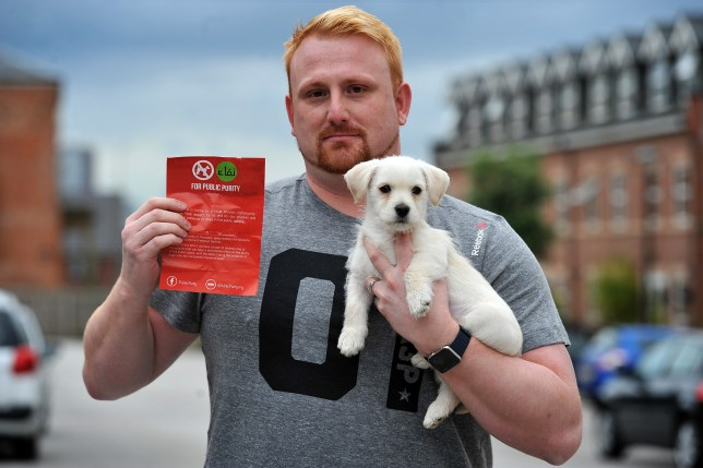 Leaflets posted in Manchester call for a ban on dogs in public because they are 'impure'