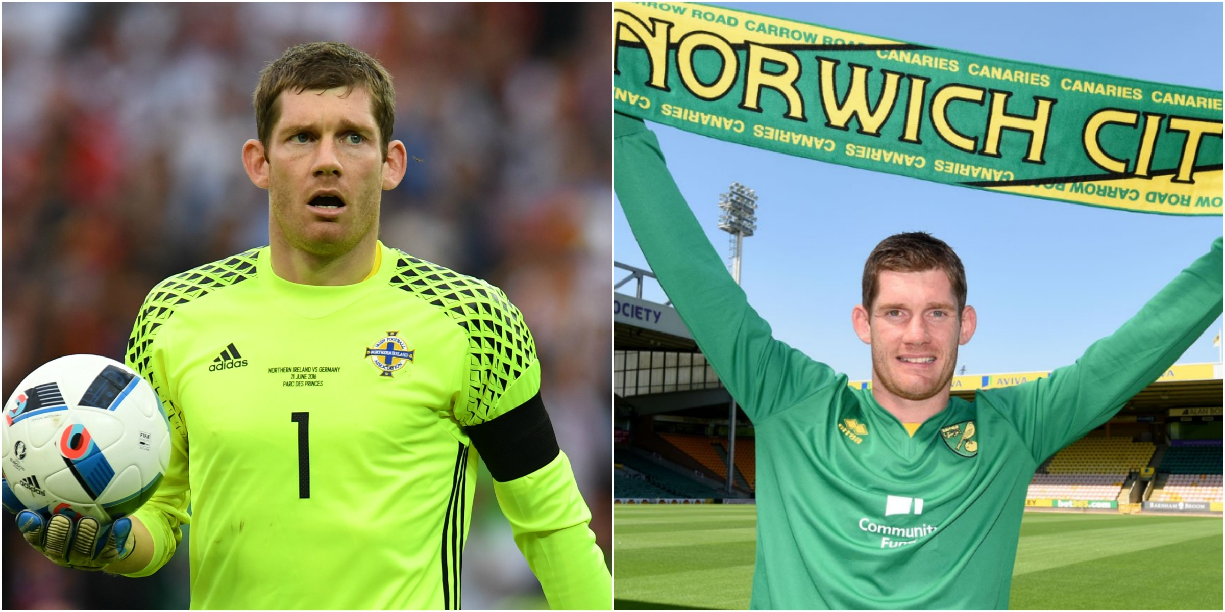 Northern Ireland goalkeeper Michael McGovern signs for Norwich
