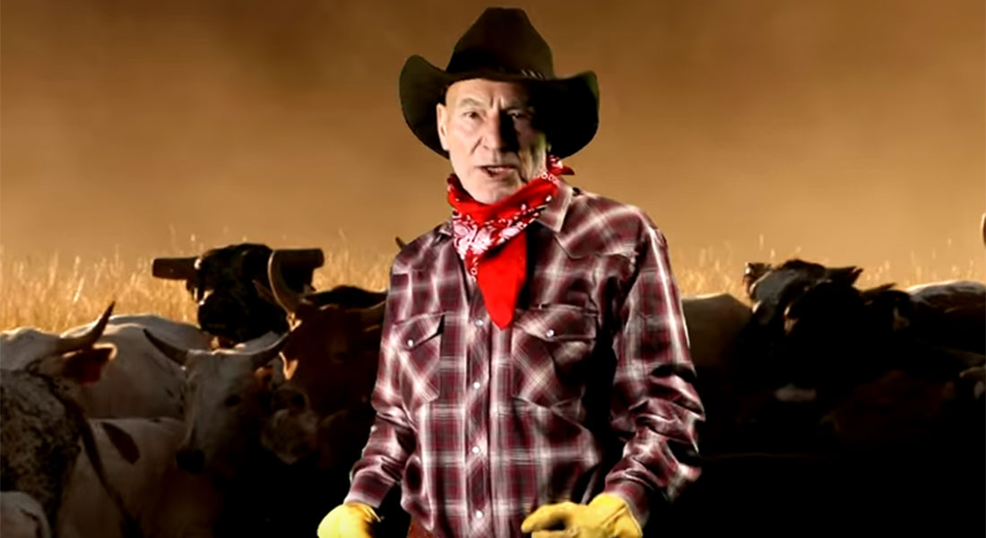 Sir Patrick Stewart dressed as a cowboy and singing country songs is EVERYTHING