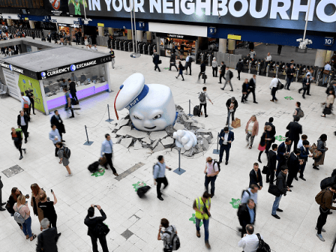 Ghostbusters Stay Puft Marshmallow Man is causing HAVOC at Waterloo station