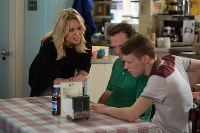 WARNING: Embargoed for publication until 00:00:01 on 16/08/2016 - Programme Name: EastEnders - July - September 2016 - TX: 23/08/2016 - Episode: EastEnders July - September  2016 - 5338 (No. n/a) - Picture Shows: *STRICTLY NOT FOR PUBLICATION UNTIL 00:01HRS, TUESDAY 16th AUGUST, 2016* ***FORTNIGHTLIES PLEASE DO NOT USE (SOAP LIFE AND ALL ABOUT SOAP) Roxy tells Jay and Billy what's happened. Roxy Mitchell (RITA SIMONS), Billy Mitchell (PERRY FENWICK) - (C) BBC - Photographer: Jack Barnes