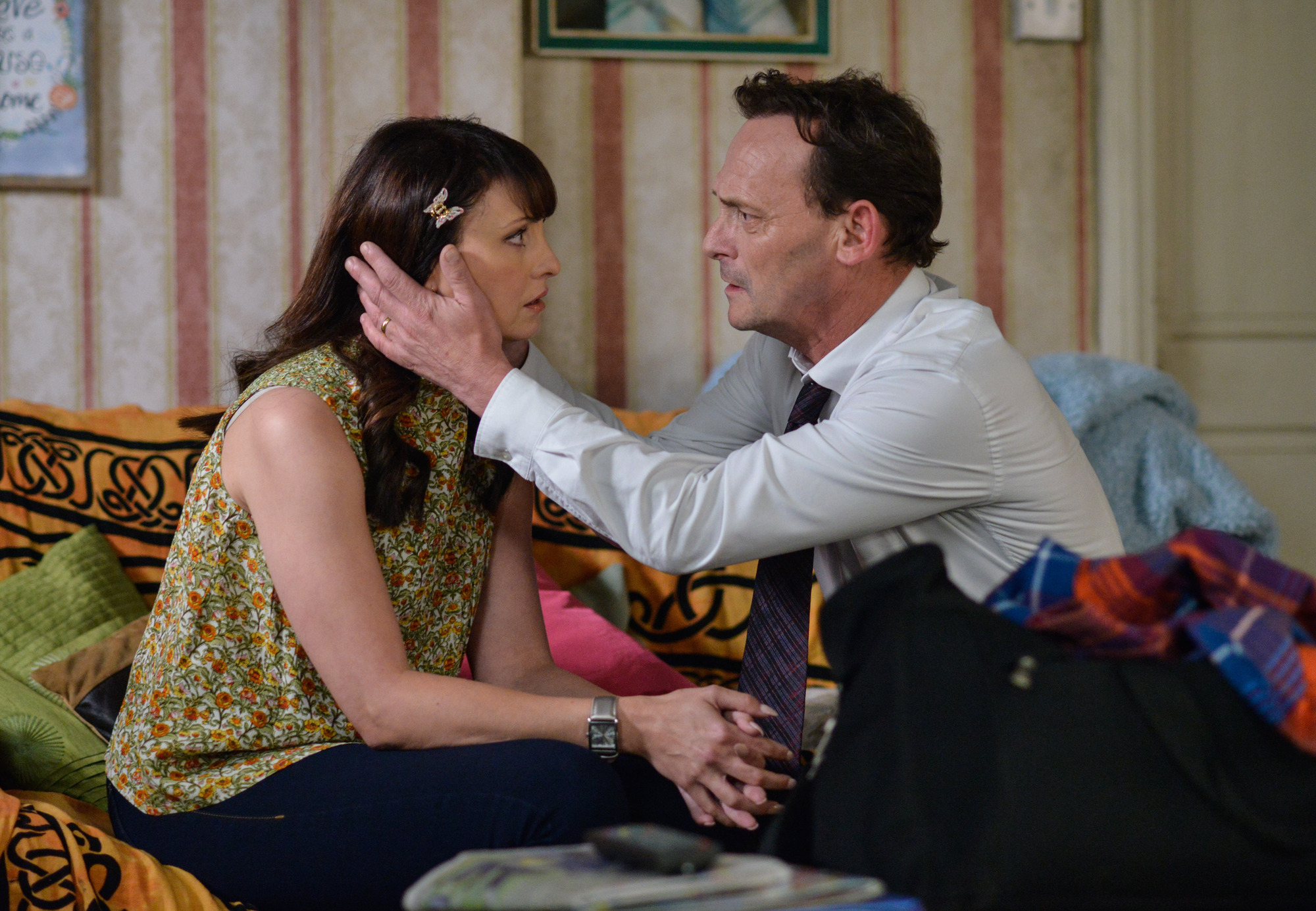 WARNING: Embargoed for publication until 00:00:01 on 16/08/2016 - Programme Name: EastEnders - July - September 2016 - TX: 25/08/2016 - Episode: EastEnders July - September  2016 - 5339 (No. n/a) - Picture Shows: *STRICTLY NOT FOR PUBLICATION UNTIL 00:01HRS, TUESDAY 16th AUGUST, 2016* ***FORTNIGHTLIES PLEASE DO NOT USE (SOAP LIFE AND ALL ABOUT SOAP) Billy pleads with Honey to give him one more chance.  Honey Mitchell (EMMA BARTON), Billy Mitchell (PERRY FENWICK) - (C) BBC - Photographer: Jack Barnes