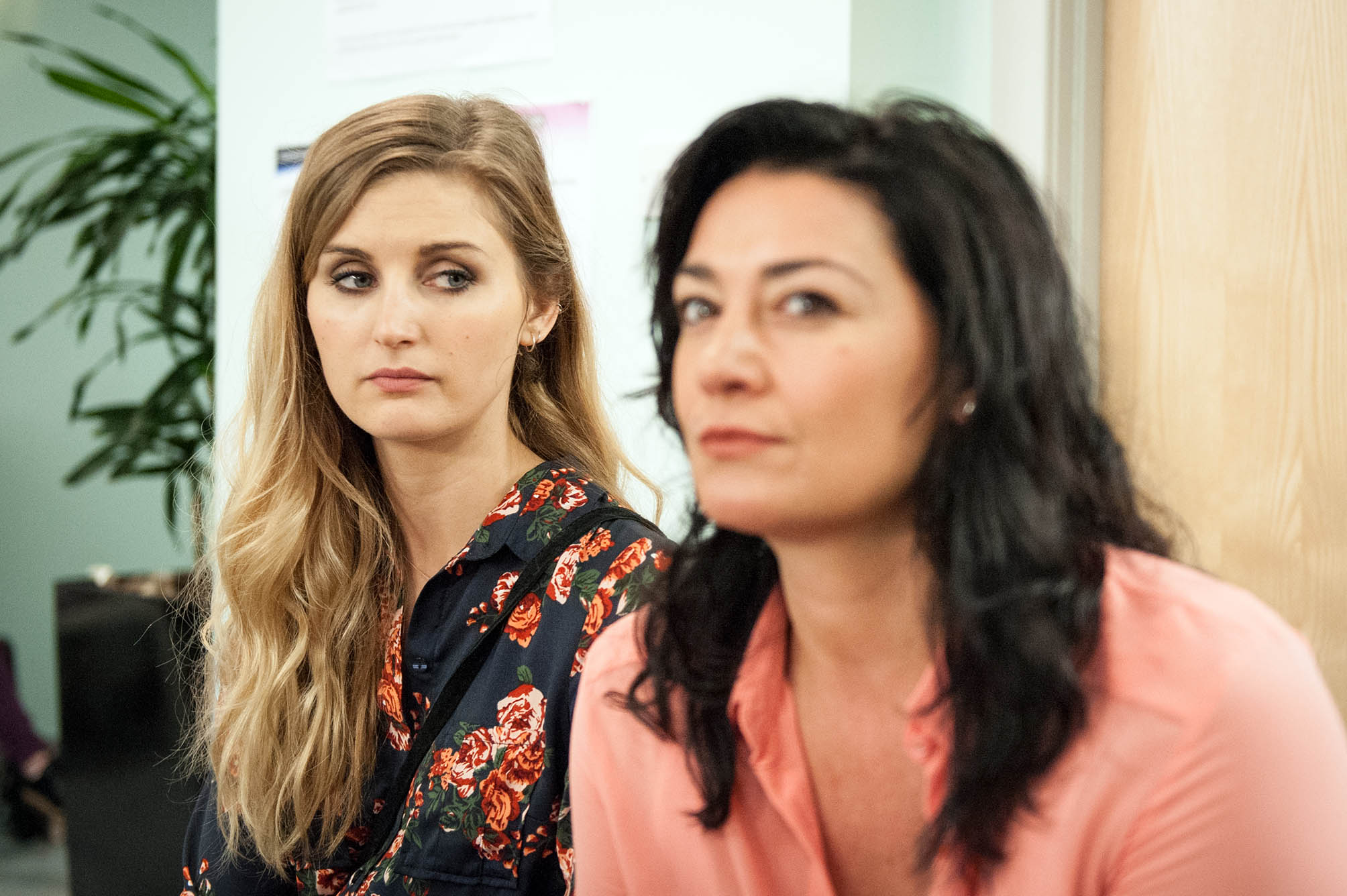 FROM ITV STRICT EMBARGO - NO USE BEFORE TUESDAY 16 AUGUST 2016                                                 Emmerdale - Ep 7599 Friday 26 August 2016 At the HIV clinic, Moira Dingle [NATALIE J ROBB] learns Holly Barton's [SOPHIE POWLES] missing her interview and tries to make her go. Will Moira be in the clear? And will Holly make her interview or will her past come back to haunt her?  Picture contact: david.crook@itv.com on 0161 952 6214 Photographer - Andrew Boyce This photograph is (C) ITV Plc and can only be reproduced for editorial purposes directly in connection with the programme or event mentioned above, or ITV plc. Once made available by ITV plc Picture Desk, this photograph can be reproduced once only up until the transmission [TX] date and no reproduction fee will be charged. Any subsequent usage may incur a fee. This photograph must not be manipulated [excluding basic cropping] in a manner which alters the visual appearance of the person photographed deemed detrimental or inappropriate by ITV plc Picture Desk. This photograph must not be syndicated to any other company, publication or website, or permanently archived, without the express written permission of ITV Plc Picture Desk. Full Terms and conditions are available on the website www.itvpictures.com