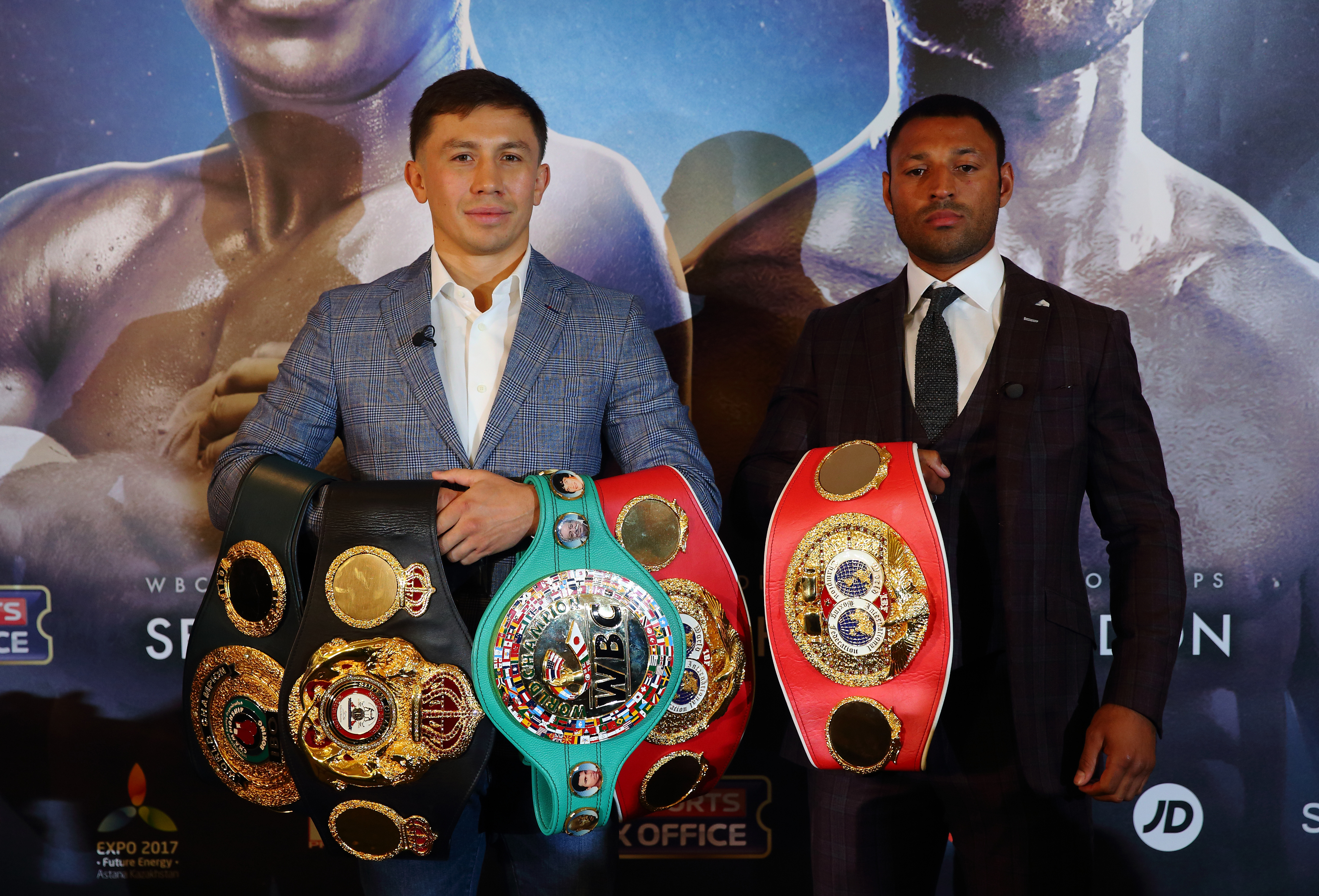 LONDON, ENGLAND - AUGUST 01: Gennady Golovkin (L) and Kell Brook (R) pose for a photo during the press conference ahead of the fight between Gennady Golovkin and Kell Brook at the Dorchester Hotel on August 1, 2016 in London, England. (Photo by Jordan Mansfield/Getty Images)