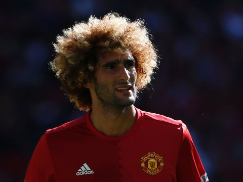 Fans congratulate Manchester United's Marouane Fellaini on his first assist of the season after error lets Jamie Vardy score