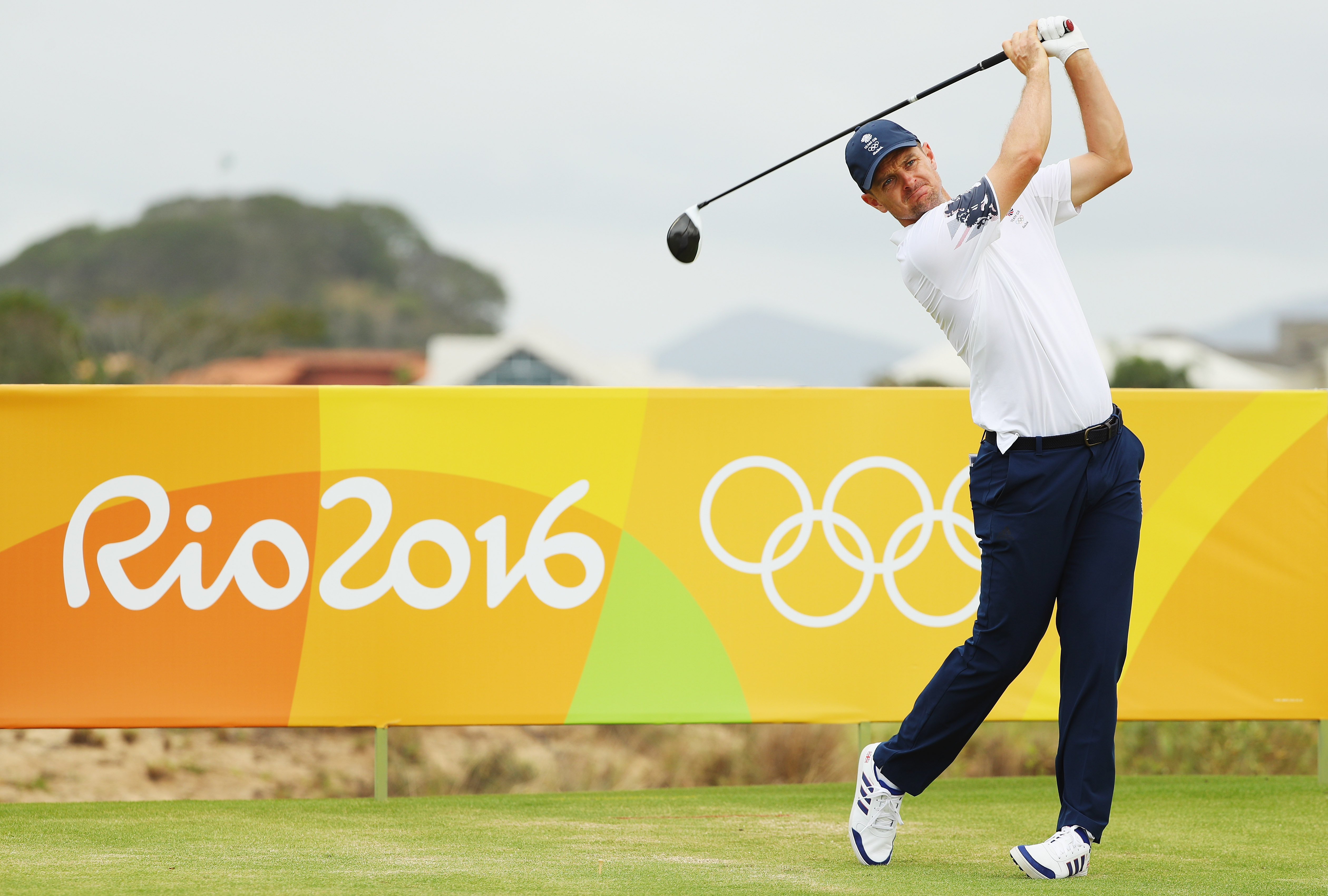 RIO DE JANEIRO, BRAZIL - AUGUST 08: Justin Rose of Great Britain hits a shot during a practice round during Day 3 of the Rio 2016 Olympic Games at Olympic Golf Course on August 8, 2016 in Rio de Janeiro, Brazil. (Photo by Scott Halleran/Getty Images)