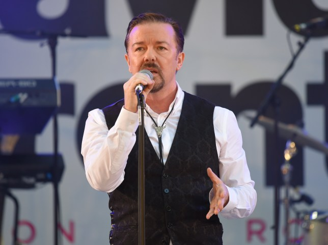 """LONDON, ENGLAND - AUGUST 10: Ricky Gervais and the Foregone Conclusion perform at the World premiere of """"David Brent: Life On The Road"""" at Odeon Leicester Square on August 10, 2016 in London, England. (Photo by Karwai Tang/WireImage)"""