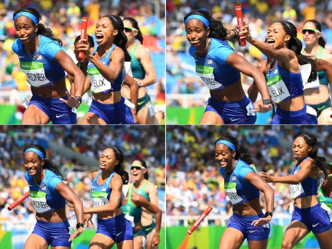 Bizarre scenes in 4x100m relay as USA qualify in re-run after Allyson Felix THROWS baton at team-mate during handover