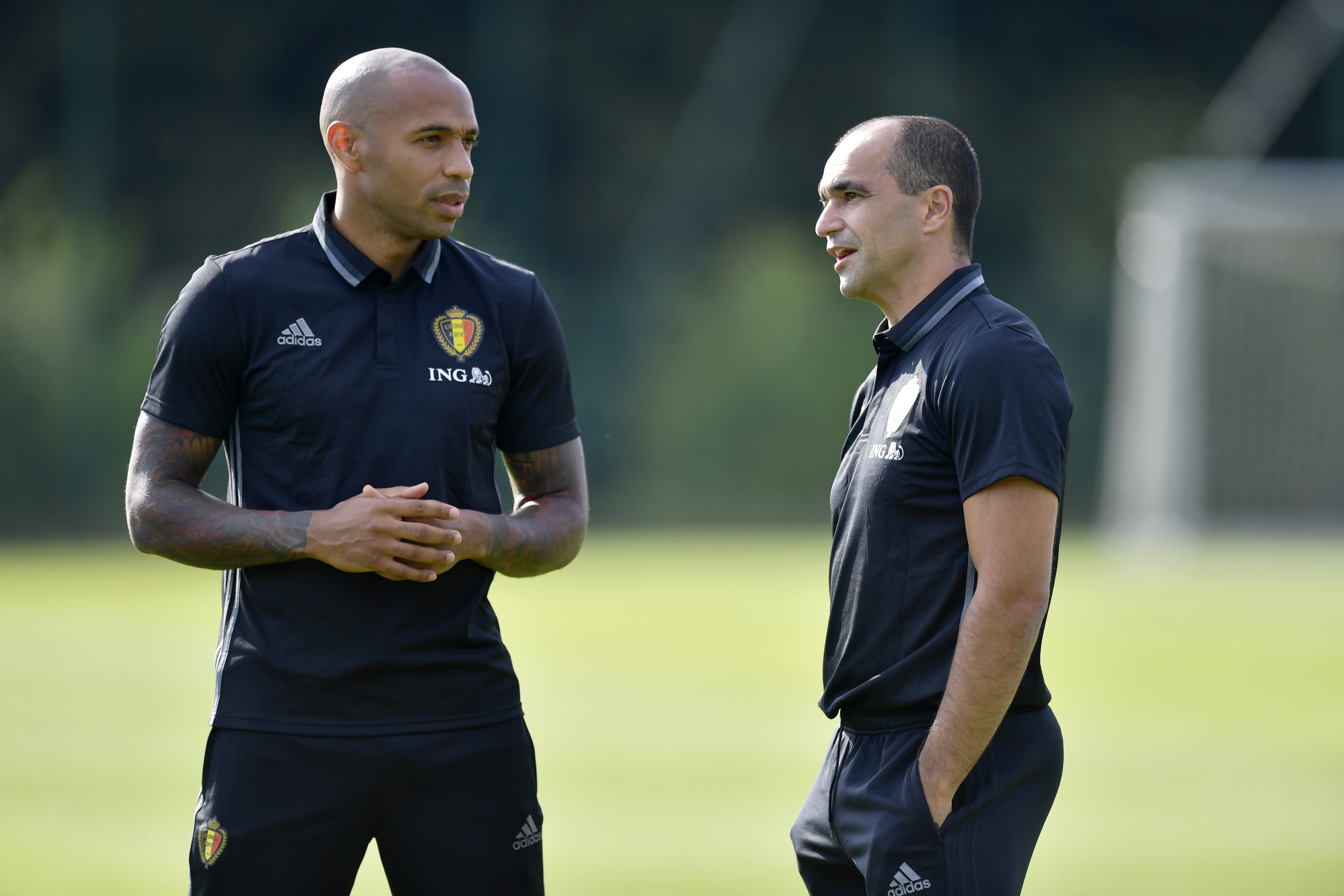 Thierry Henry takes first Belgium training session after being appointed assistant boss