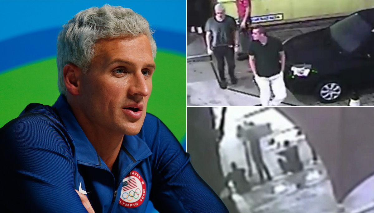 CCTV shows Ryan Lochte and US swimmers with hands up before Rio 'robbery'