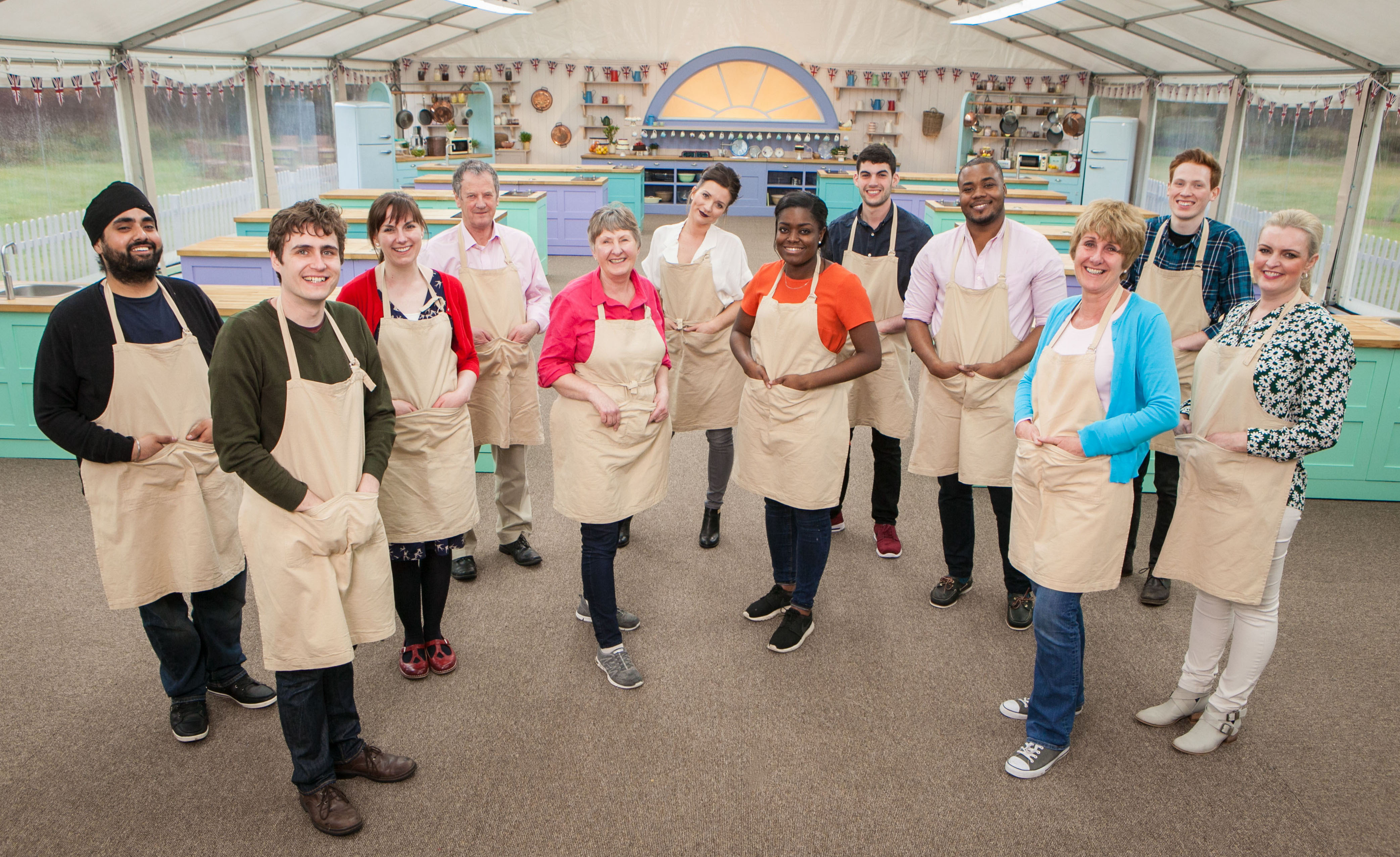 For use in UK, Ireland or Benelux countries only Undated BBC handout photo of (left-right) Rav, Tom, Kate, Lee, Val, Candice, Benjamina , Michael, Selasi, Jane, Andrew & Louise the contestants for this year's BBC1's cookery contest, The Great British Bake Off. PRESS ASSOCIATION Photo. Issue date: Tuesday August 16, 2016. See PA story SHOWBIZ GBBO. Photo credit should read: Mark Bourdillon/BBC/PA Wire NOTE TO EDITORS: Not for use more than 21 days after issue. You may use this picture without charge only for the purpose of publicising or reporting on current BBC programming, personnel or other BBC output or activity within 21 days of issue. Any use after that time MUST be cleared through BBC Picture Publicity. Please credit the image to the BBC and any named photographer or independent programme maker, as described in the caption.